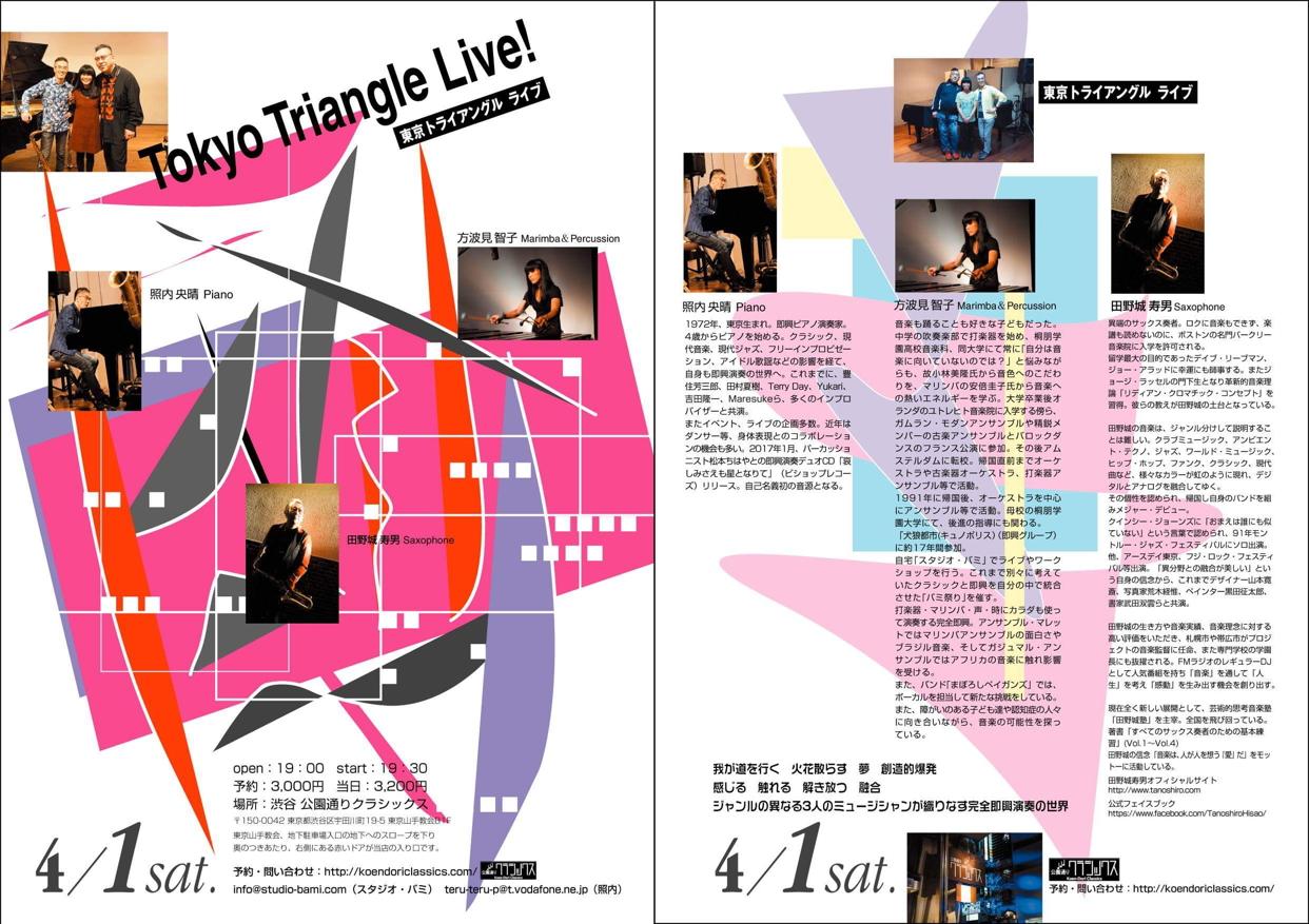 《東京トライアングル ~即興演奏ユニット~ 照内央晴・方波見智子・田野城寿男》